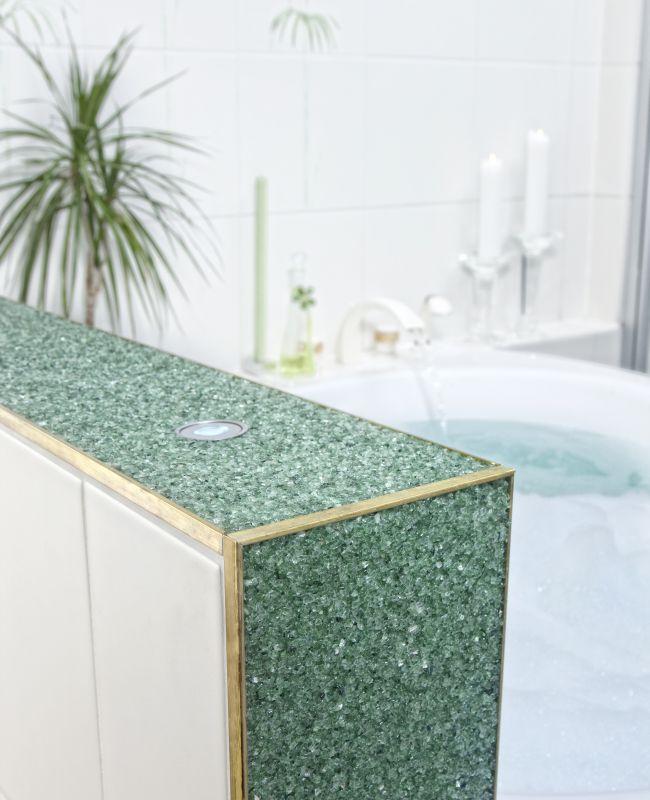 Steinteppich im Bad und Dusche